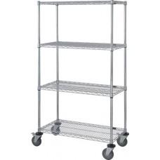 4 Wire Shelf Stem Caster Cart