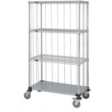 3 Wire and 1 Solid Shelf Caster Cart