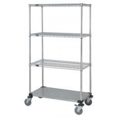 3 Wire & 1 Solid Shelf Stem Caster Cart