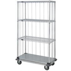 3 Wire and 1 Solid Shelf Dolly Base Cart