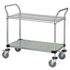 Wire and Solid Shelf Utility Cart