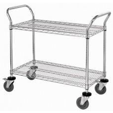 WRC-1836-2 Chrome 2-Shelf Wire Utility Cart