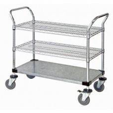 WRC-1836-3CG Chrome Wire & Solid Galvanized 3-Shelf Utility Cart