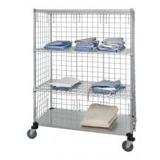 3 Wire & 1 Solid Shelf Stem Caster Linen Cart