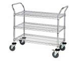 WRC-2448-3 Chrome 3-shelf Wire Utility Cart