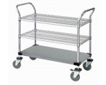 WRSC-1842SS-3S Stainless Wire & Solid 3-Shelf Utility Cart